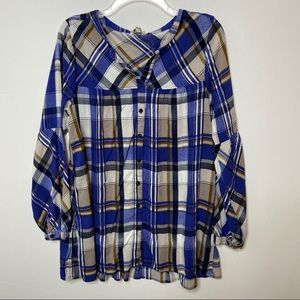 Umgee Blue and Brown Plaid Flannel Tunic Sz Large